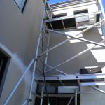Scaffold to reach top floor walls and guttering