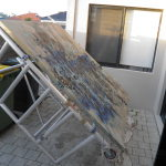 Started, using the scaffold as an oversized easel